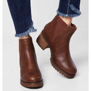 MIA Jody Ribbed Block Heel Chelsea Boots Brown 8M